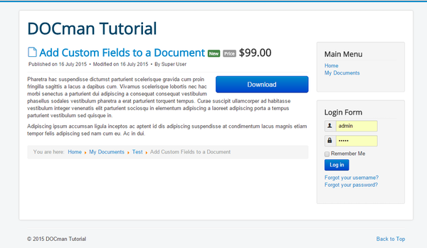 Adding a custom field to a DOCman document
