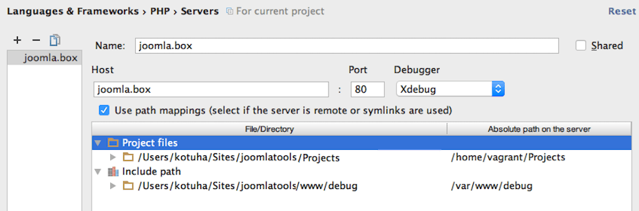 PhpStorm server configuration and mappings
