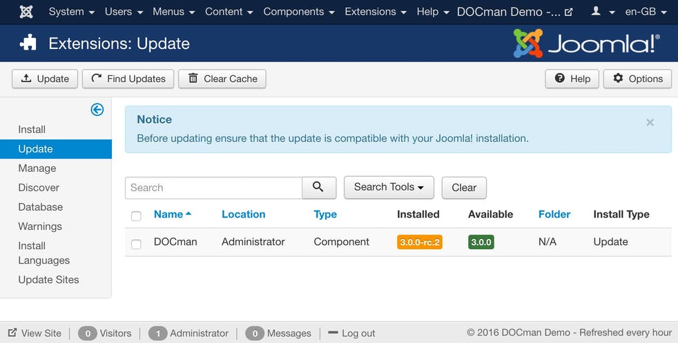 Joomla updater is now supported.