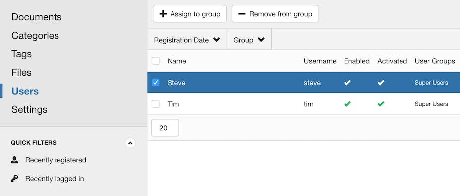 Built-in user group manager.