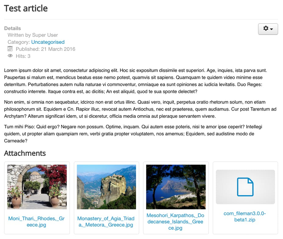 Screenshot of FILEman attachments in article content