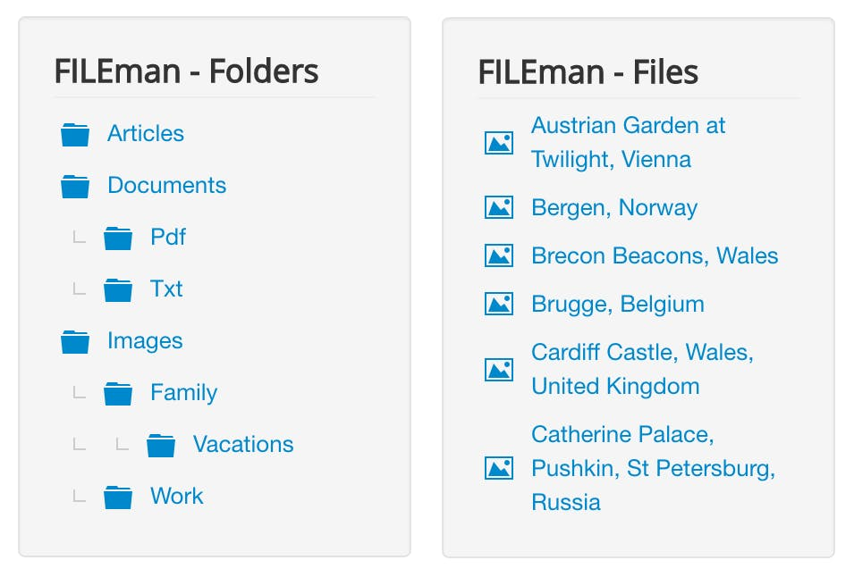 Screenshot of FILEman Files and Folders modules