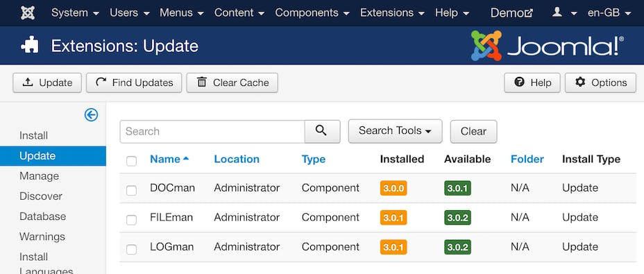 Joomla built-in extension updater.