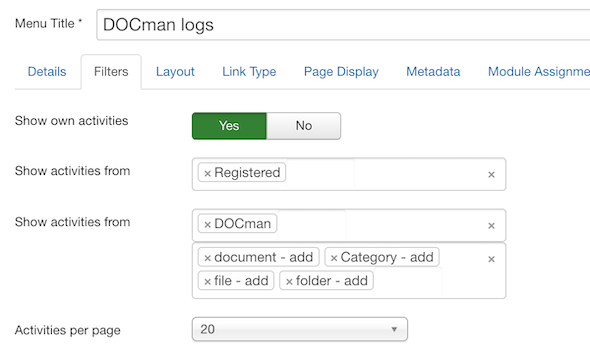 Filter the LOGman logs when creating a Menu Item.