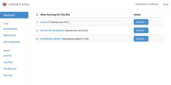 Dashboard of our Vagrant box for Joomla