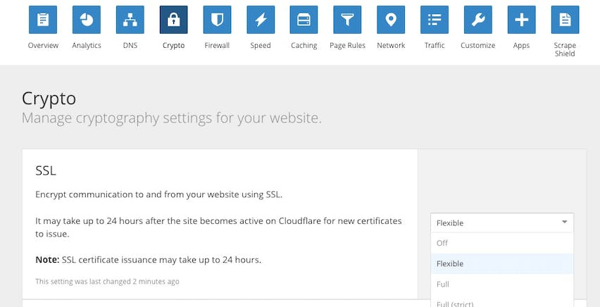 Set SSL to Flexible.
