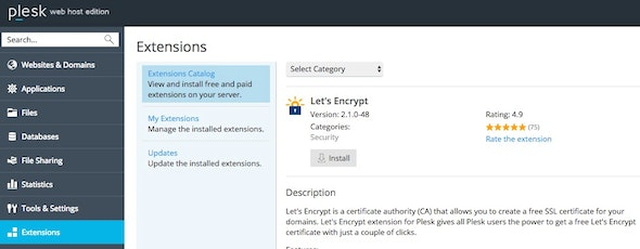 Install Let's Encrypt extension.