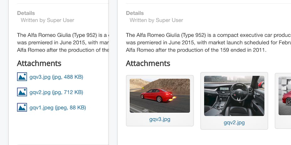 Frontend attachments