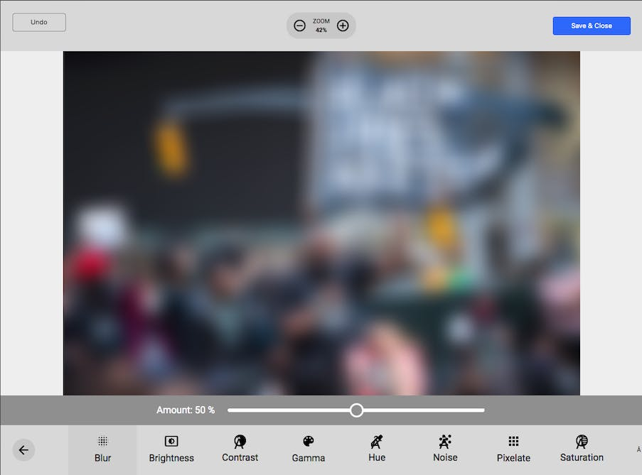 Joomlatools Connect photo editor - blur adjustment